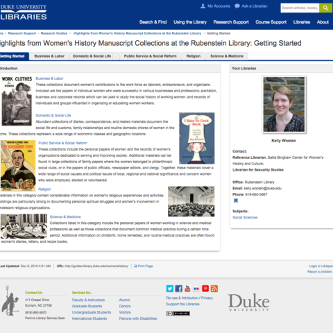 Image of a LibGuide for women's history at Duke's Rubenstein Library