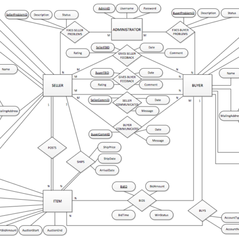 Image of an entity-relationship diagram for an online auction database